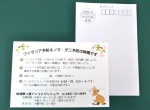 大田原市・那須野ヶ原アニマルクリニック様「予防ご案内はがき」を制作しました